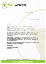 Bedankschrift Stiftung Haarwensen.